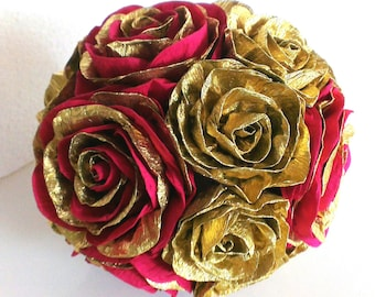 Gold royal red paper flower ball hanging paper wedding pomander kissing ball girl bridal baby shower WEDDING CENTERPIECE valentines day gold