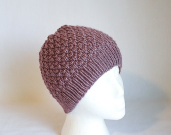 Velveteen Hat knitting PATTERN - stylish warm cozy textured knit stocking hat - permission to sell finished items