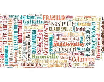 Tennessee Map Color Typography Poster Print