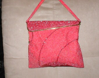 Vintage 1940's Red Beaded Evening Bag Purse