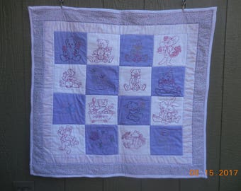 Baby quilt, baby girl quilt, embroidered baby quilt, embroidered baby girl quilt