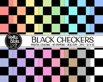 50% off SALE!! 16 Black Checkers Digital Paper • Rainbow Digital Paper • Commercial Use • Instant Download • #CHECKERS-103-BP