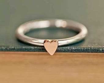 Heart Ring | Rose Gold Heart Ring | Silver Stacking Ring | Gold Heart Ring | Silver Heart Ring | Gold and Silver Stacking Ring | Lunar Heart