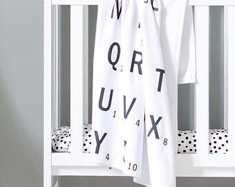Monochrome Letter Blanket - Baby Blanket - Monochrome Nursery - Gender Neutral Nursery - Monochrome Decor - Girls Room Decor - Boys Nursery