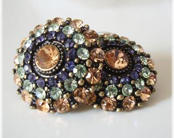 Sparkly round stud earrings, wedding party bridal earrings, rhinestone earrings