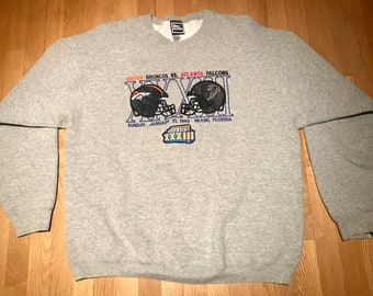 Vintage Denver Broncos Atlanta Falcons Super Bowl Pro Player Crewneck Sweatshirt