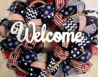 Summer Wreath, Beach Wreath, Fourth of July Wreath, 4th of July Wreath, WreathS, Wreath, Wreaths, Patriotic Wreath, Wreath