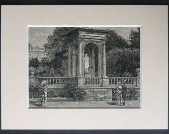 1880s Antique Print of Victorian Gardens - Wood Engraving - Black and White Decor - Available Framed  - Victorian Art - Antique Matted Print