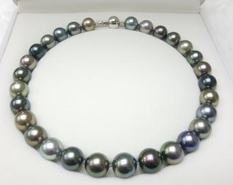 Tahitian Pearl Necklace, Multi colour, 13-14mm, 16inchs.