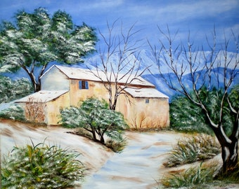 """Painting on canvas """"Provence in winter"""""""