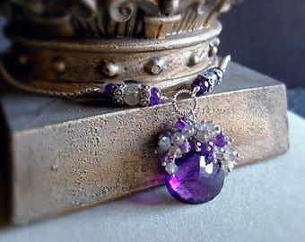 Amethyst Pendant Necklace with Labradorite Cluster Gemstone Cluster Pendant Statement Necklace