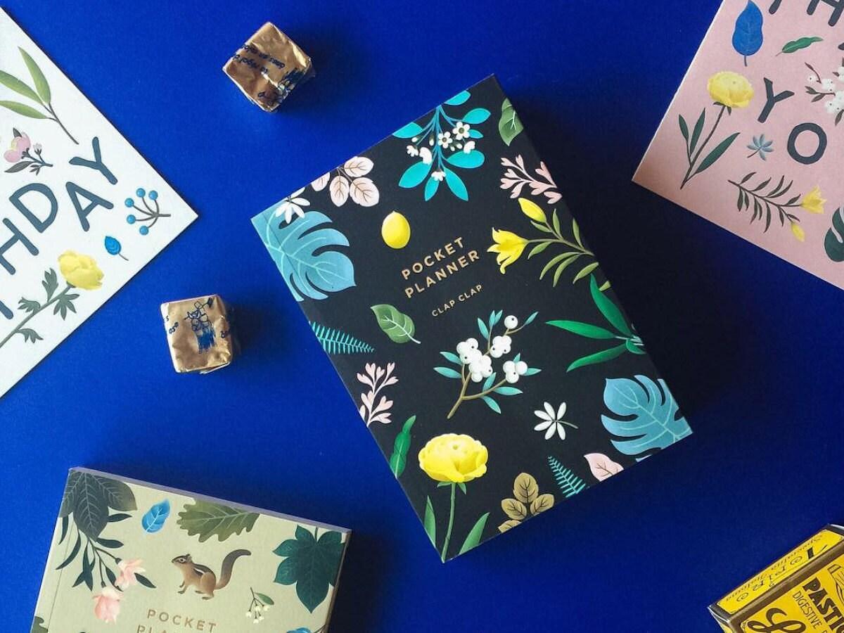 Pocket planner with botanical cover design