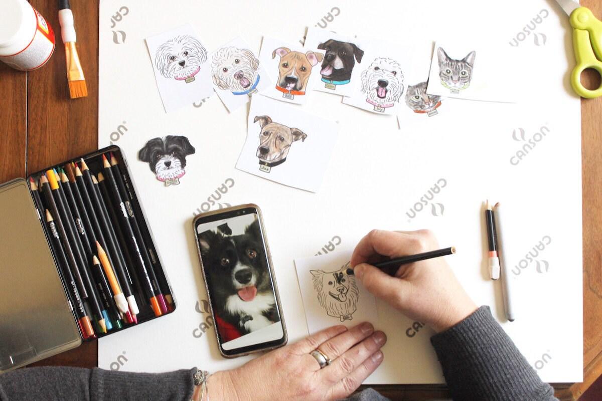 Regina colors a custom dog illustration