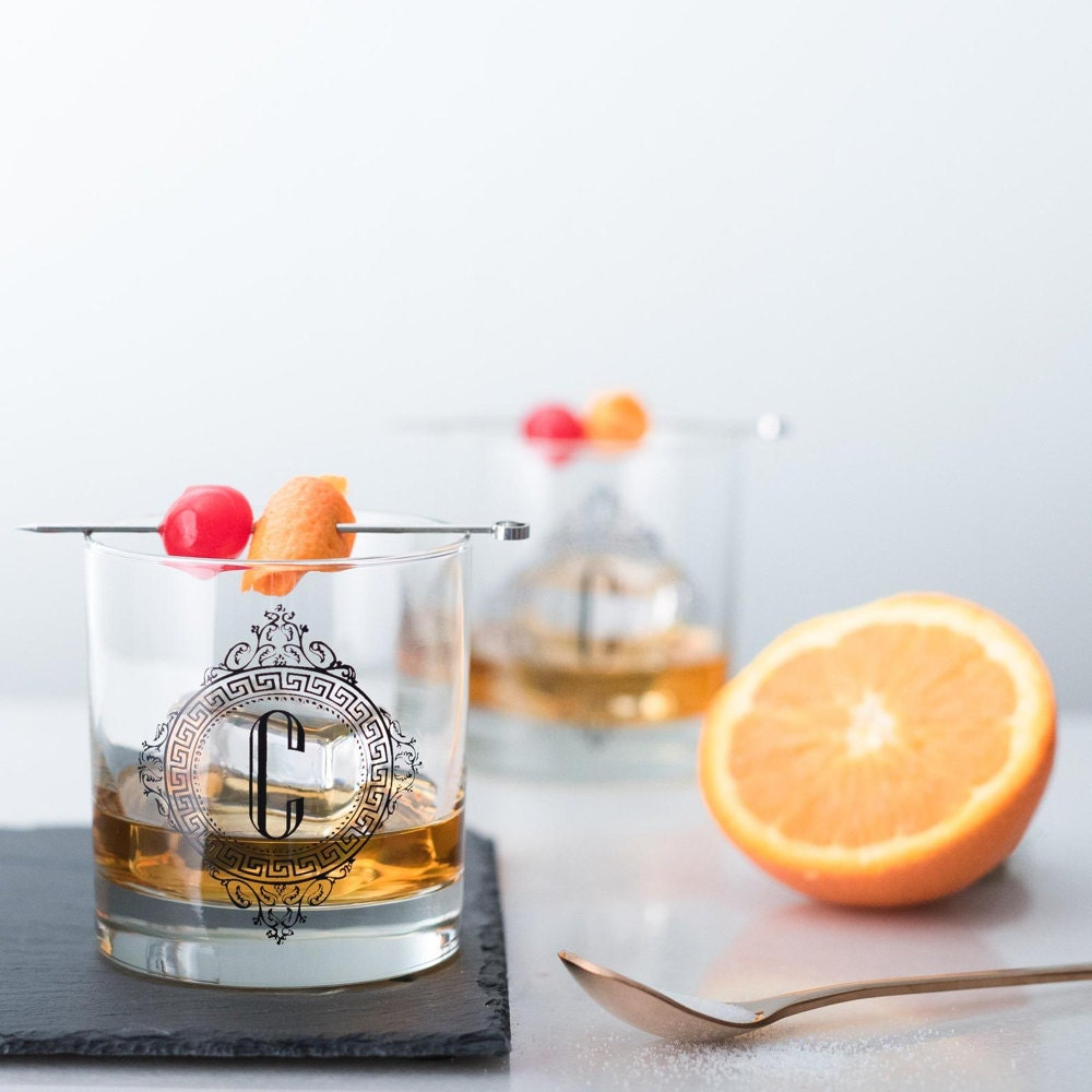 A set of monogrammed Old Fashioned glasses from Vital Industries