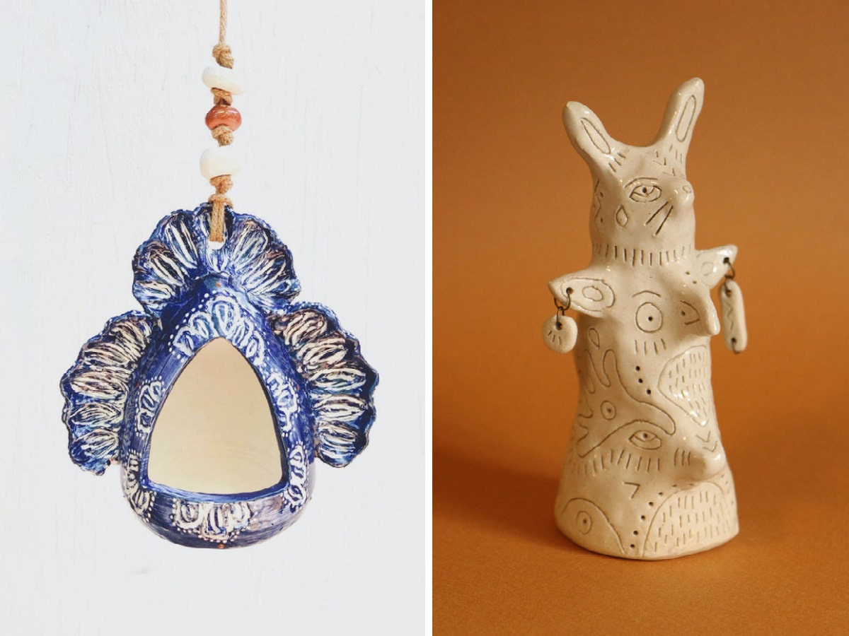 A side-by-side of two ceramic objects: a bird feeder and a totem.