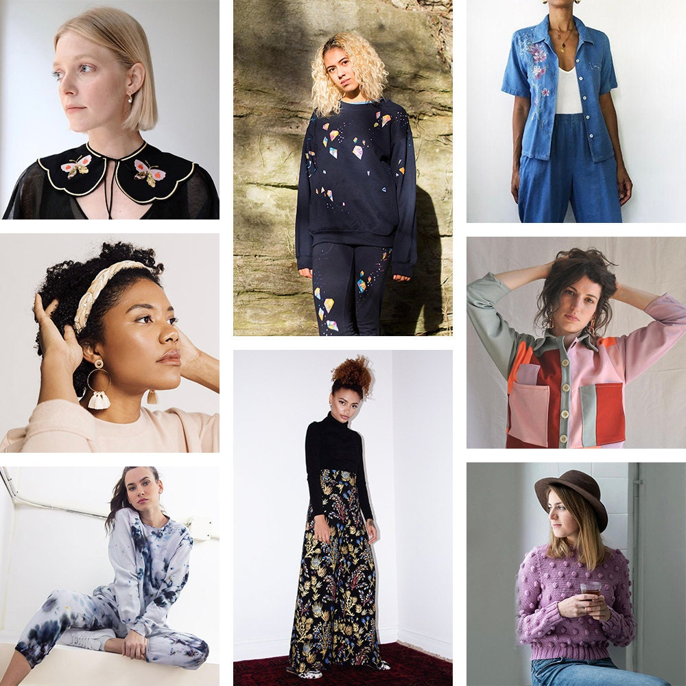 A collage of casual-chic clothes and accessories available on Etsy