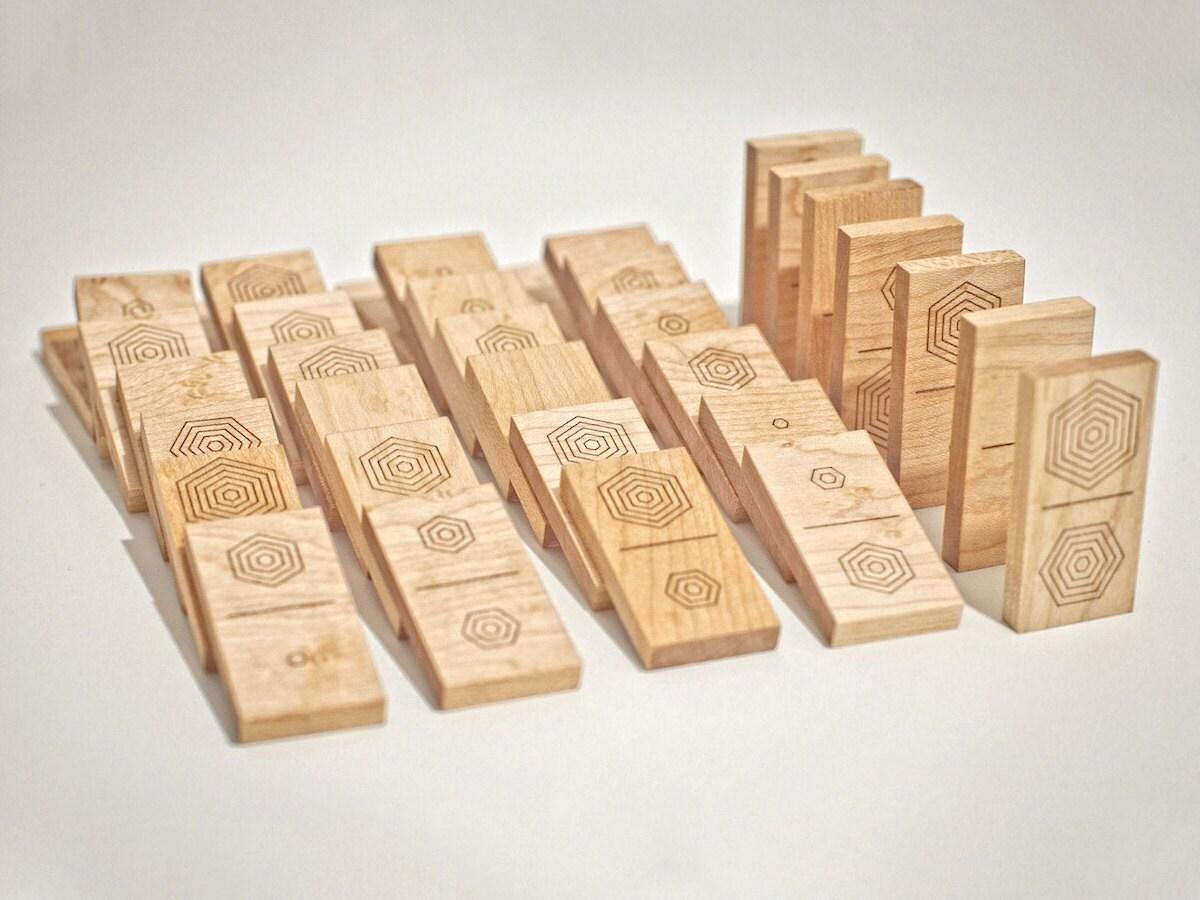 Laser-cut wooden dominoes from Atelier-D