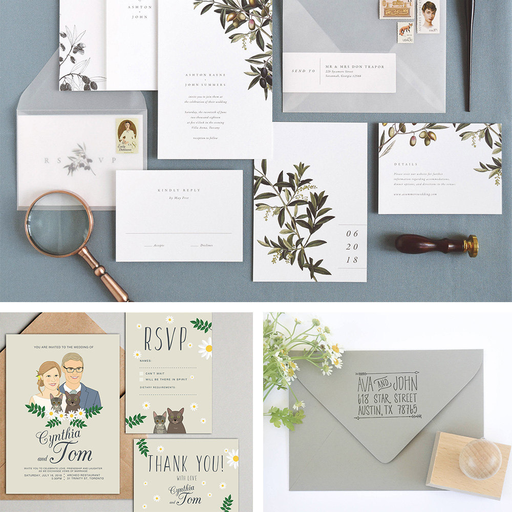 A collage of wedding invitations from Etsy