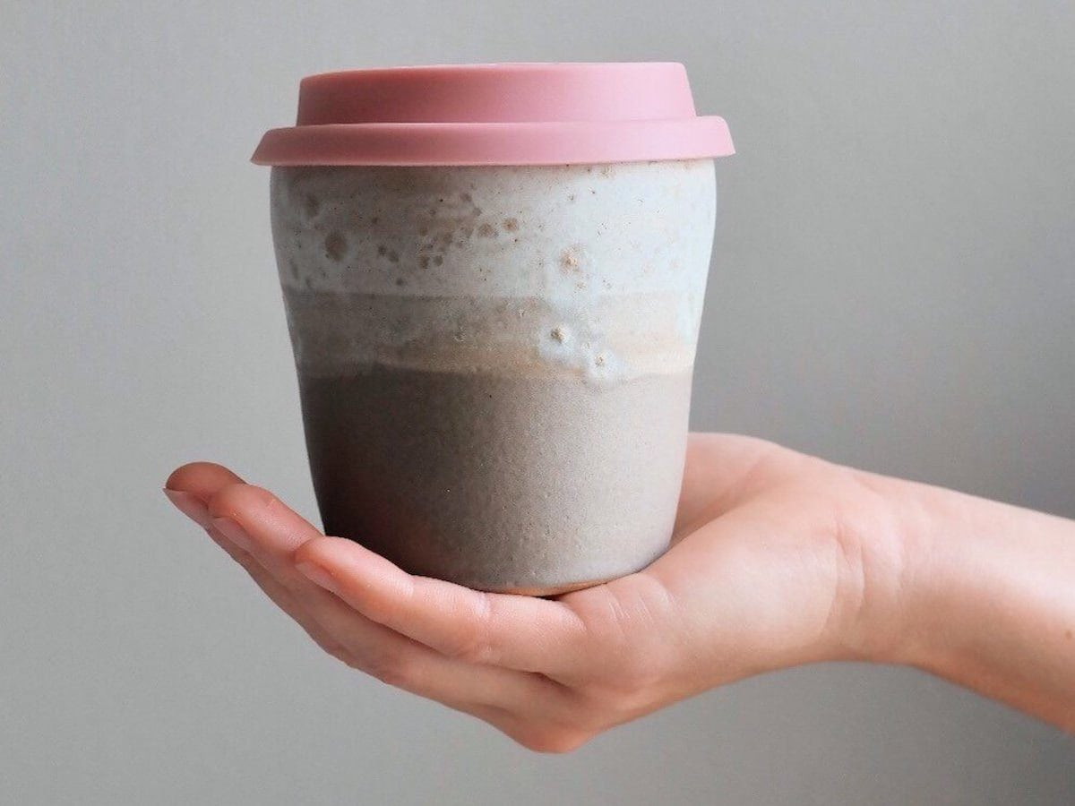 Reusable ceramic travel mug from Kara Leigh Ford