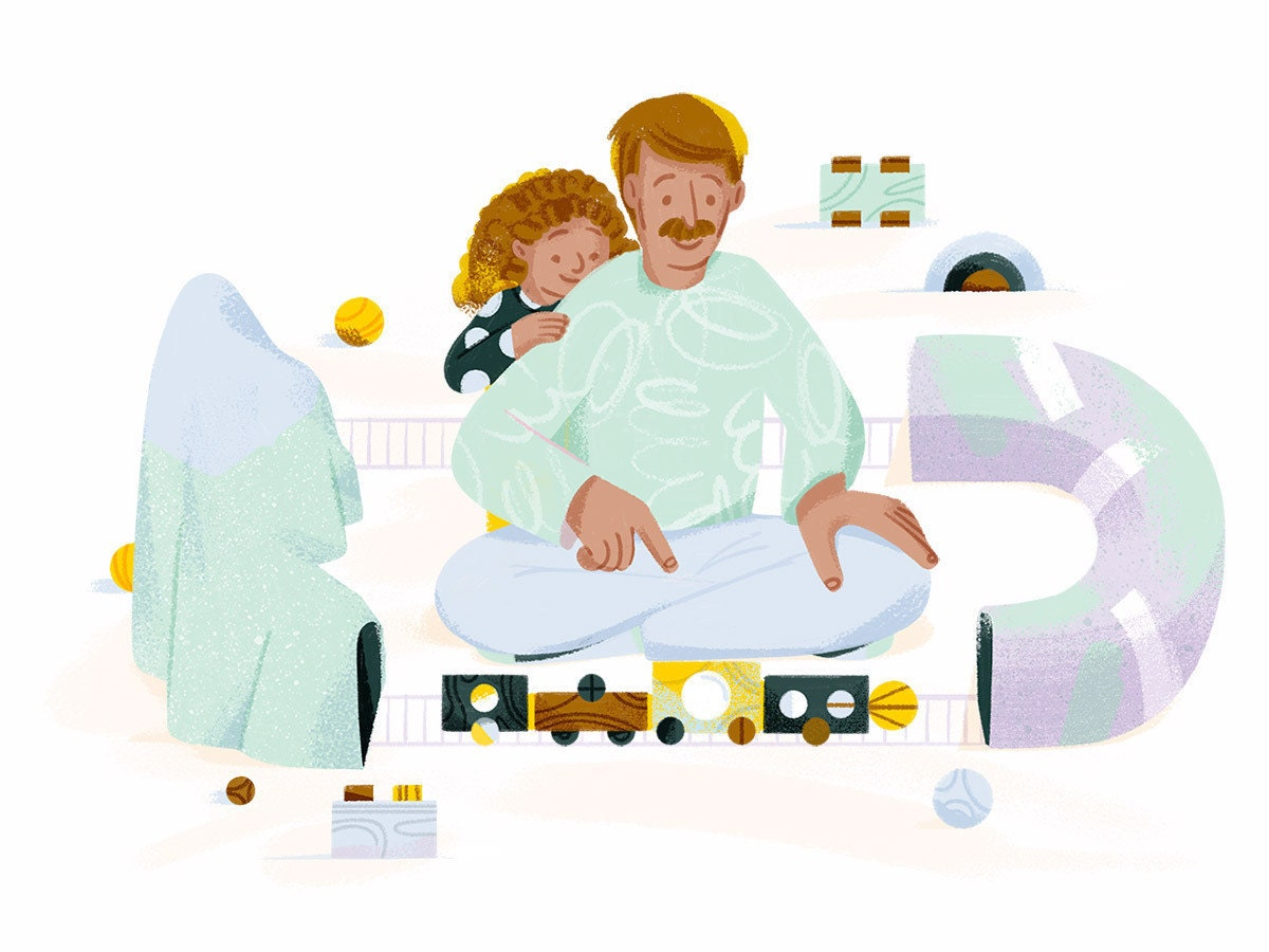 An illustration of father and son playing indoors with a train set