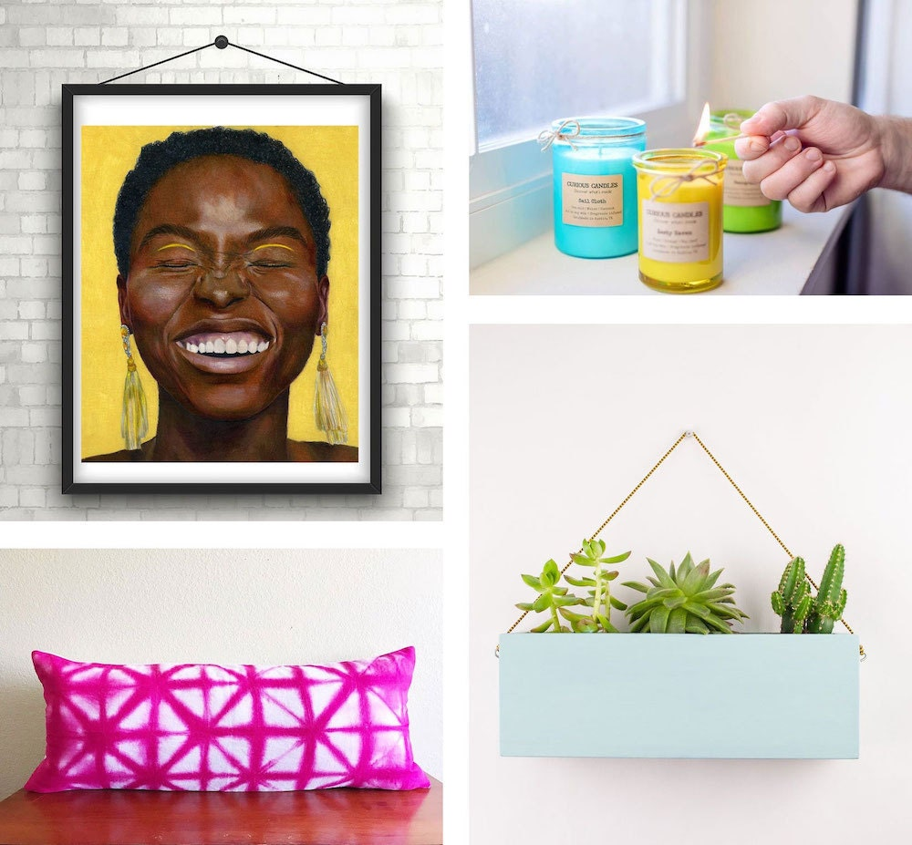Collage of colorful home decor pieces