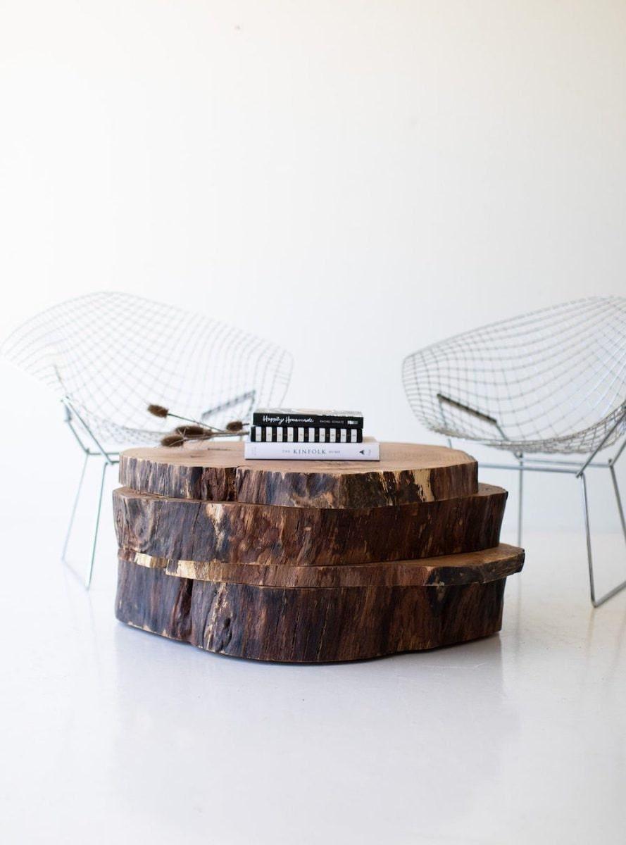 Rustic slab coffee table from Bertu Home