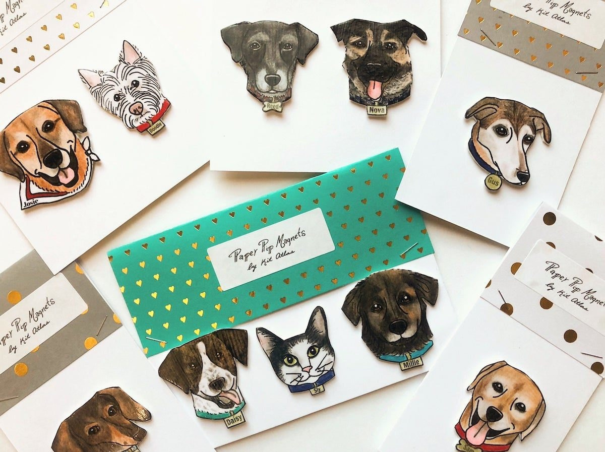 Pre-illustrated pet magnets from Kit Atlas
