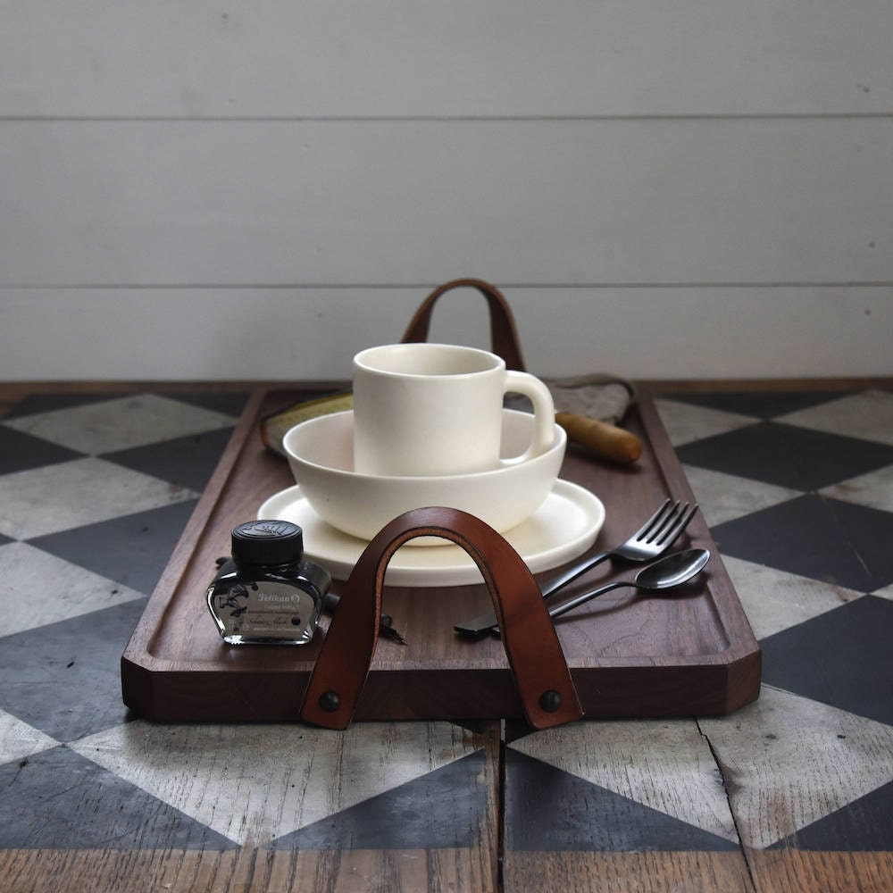 A wooden breakfast tray from Peg and Awl