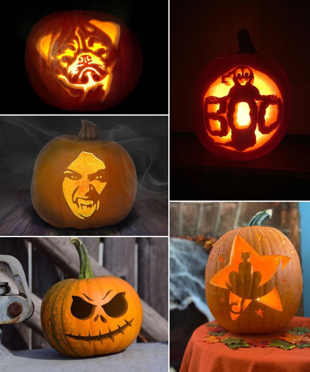 Pumpkin stencils for Halloween, from Etsy