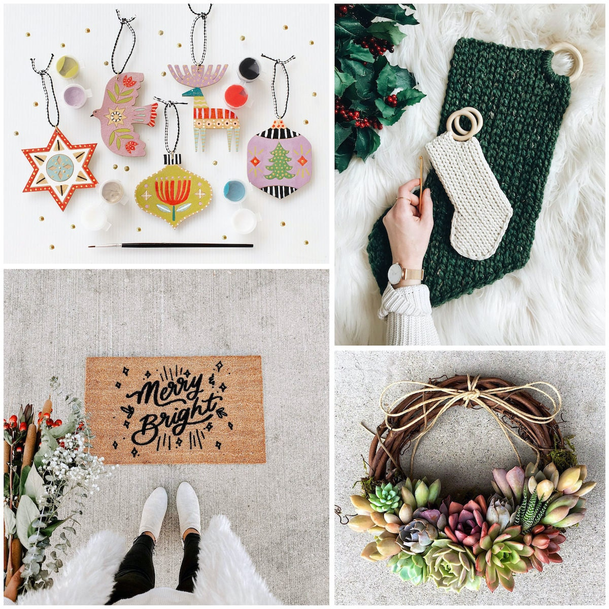 DIY ornaments, crochet stockings, a succulent wreath, and a message doormat from Etsy