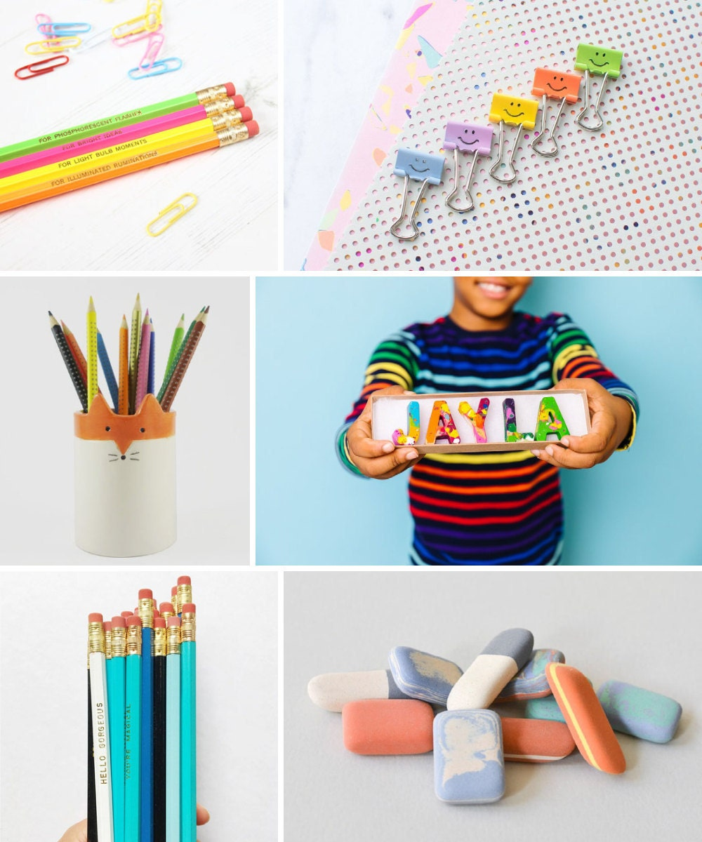 Pencils, writing utensils, desk supplies, and other back-to-school supplies from Etsy