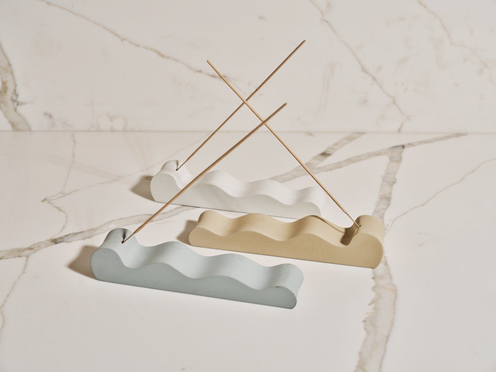 Concrete incense holders from the Tan France x Etsy collection