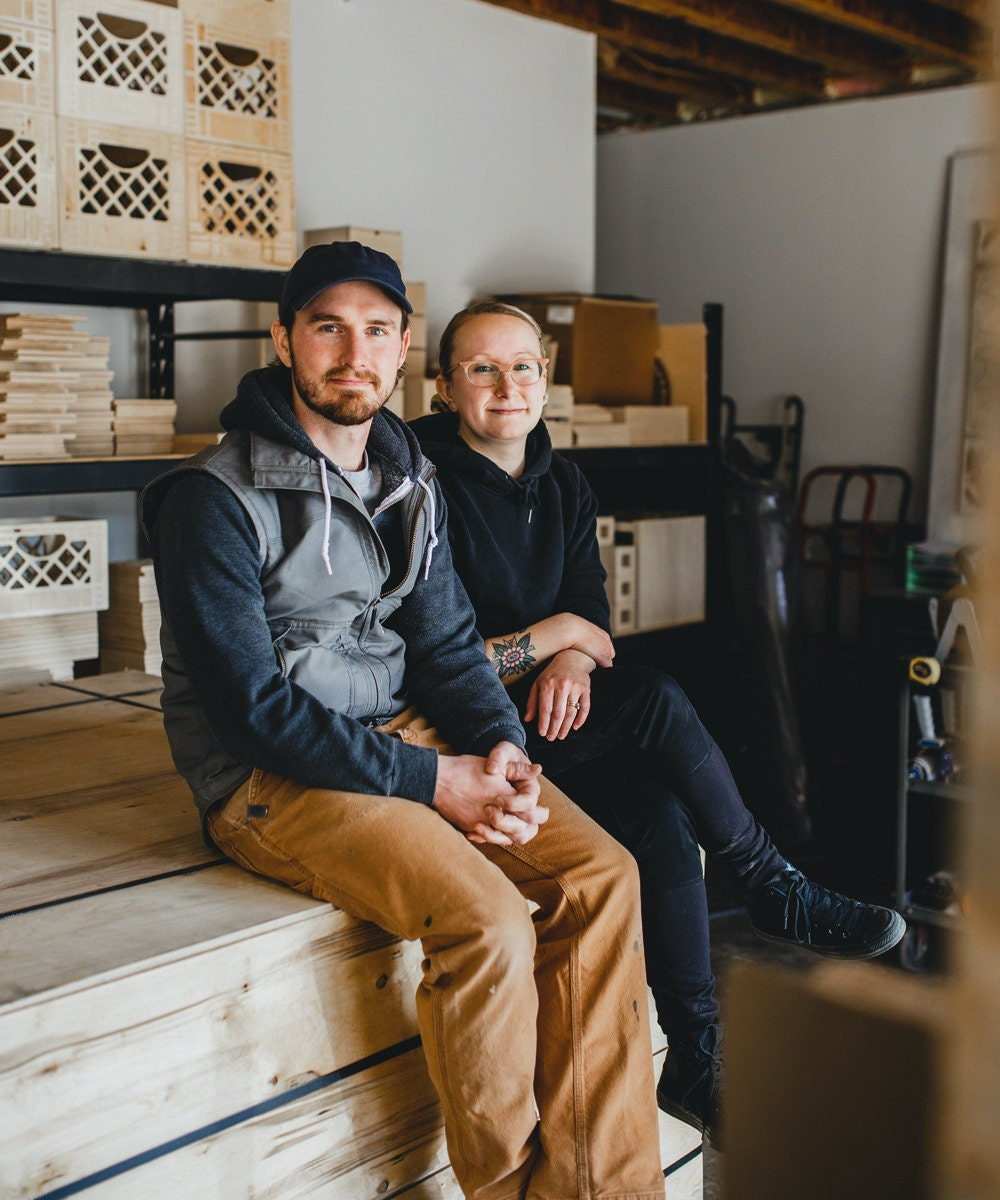 A portrait of Andrew and Hanna in their Minnesota workshop.