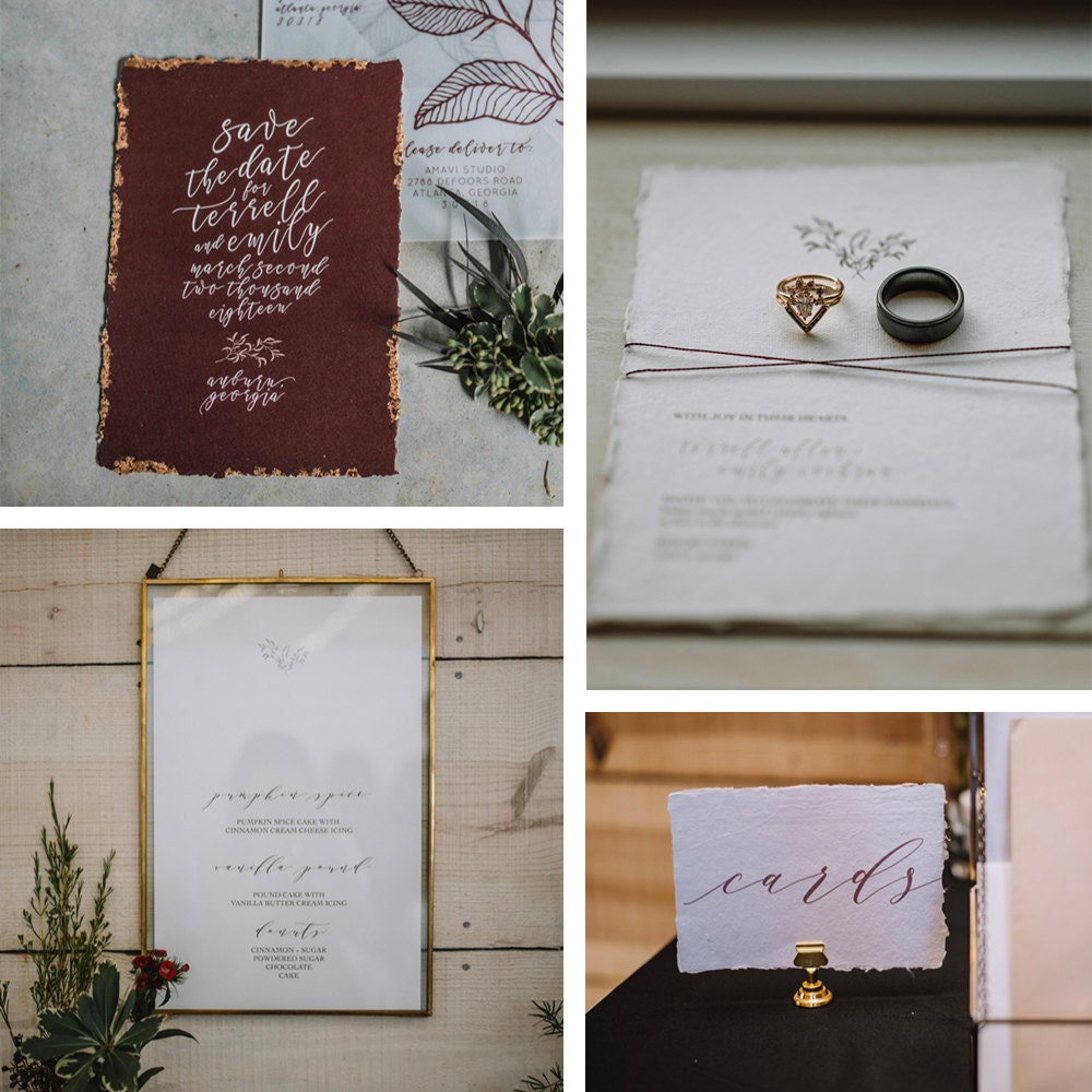 A collage of paper details from the wedding day