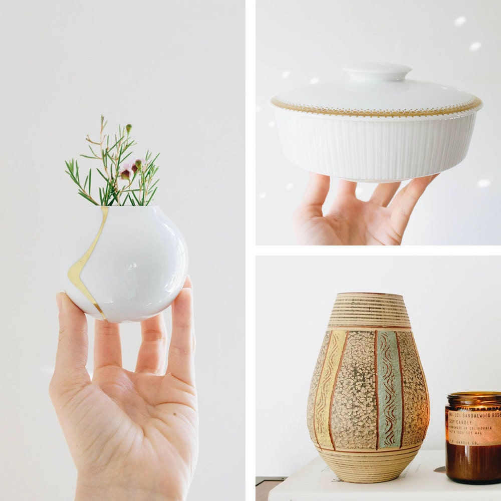 A collage of mid-century decor from Glittery Moon Vintage