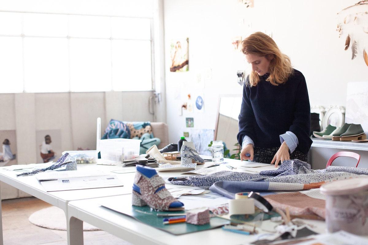 Hadas at work in her Tel Aviv studio
