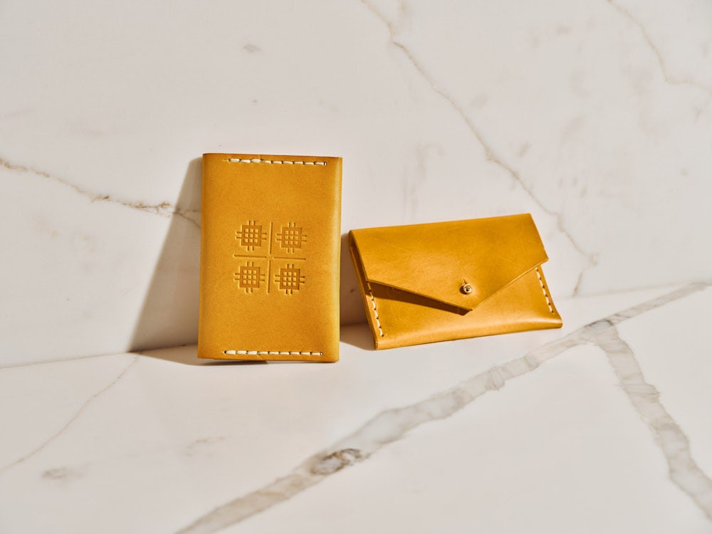 A leather wallet from the Tan France x Etsy collection