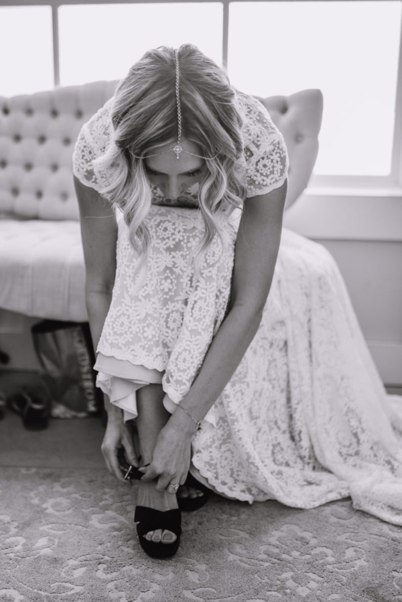 Emily puts on her bridal heels