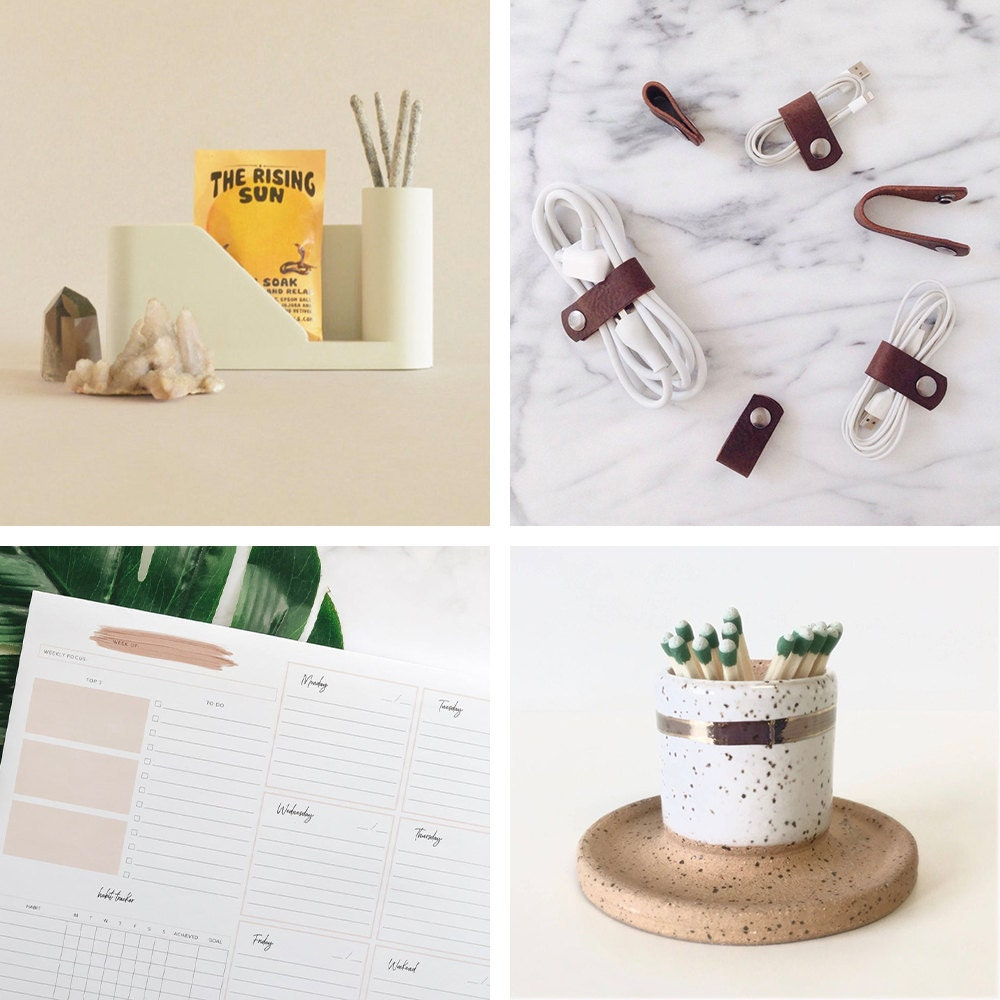 A collage of organizational home office items available on Etsy.