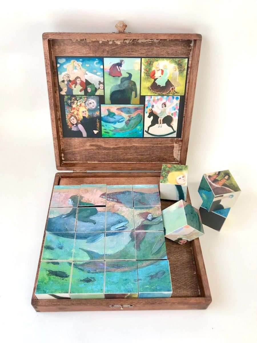 A wooden cube block puzzle from Shannon Richardson Art