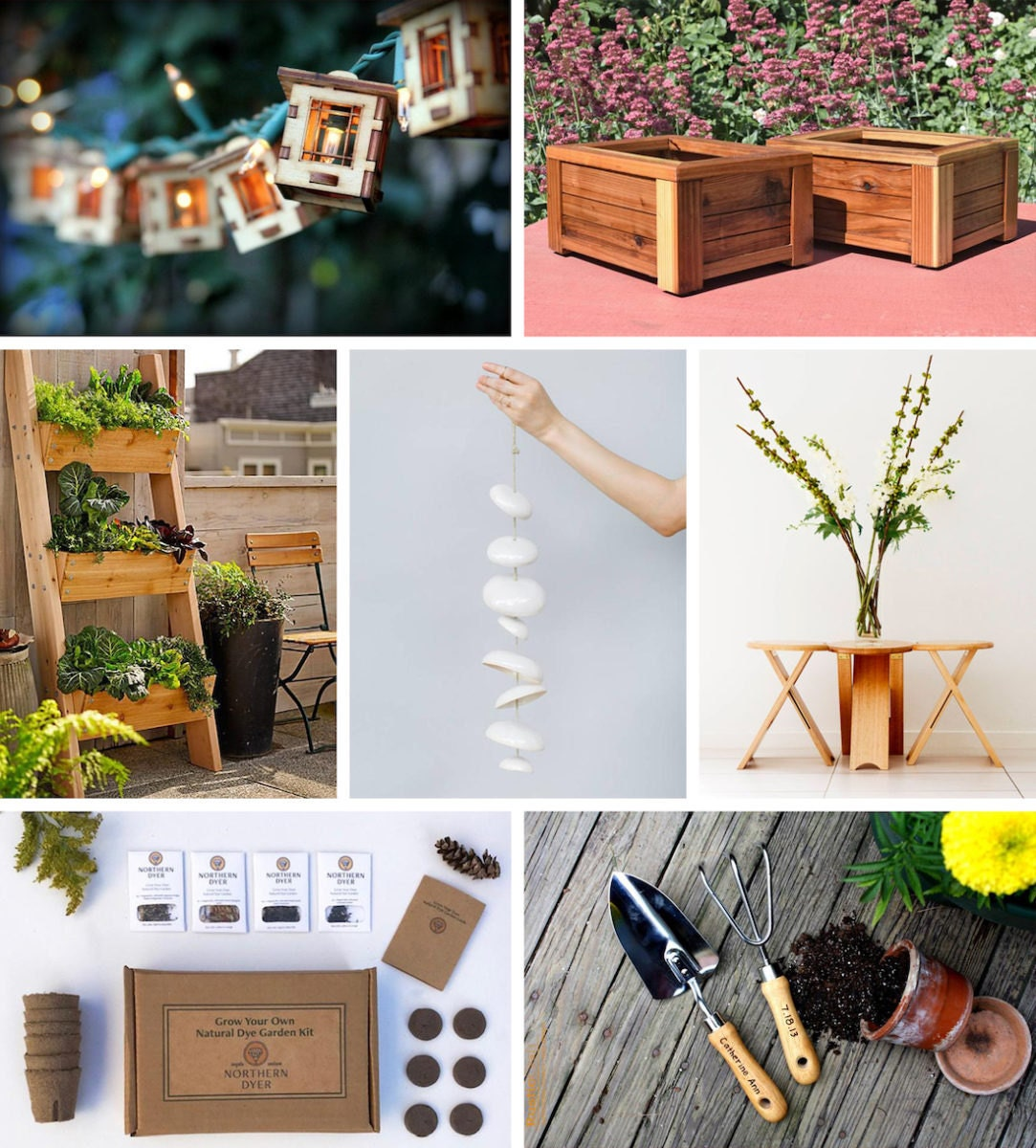A collage of patio picks from Etsy
