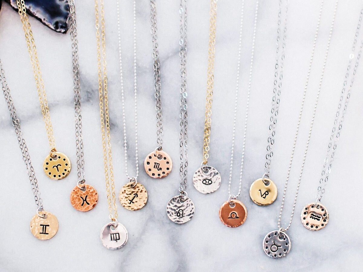 Zodiac star sign necklaces from Zenned Out for all 12 signs