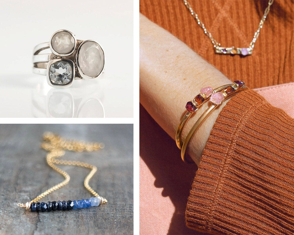 A collage of ombre gemstone jewelry from Etsy