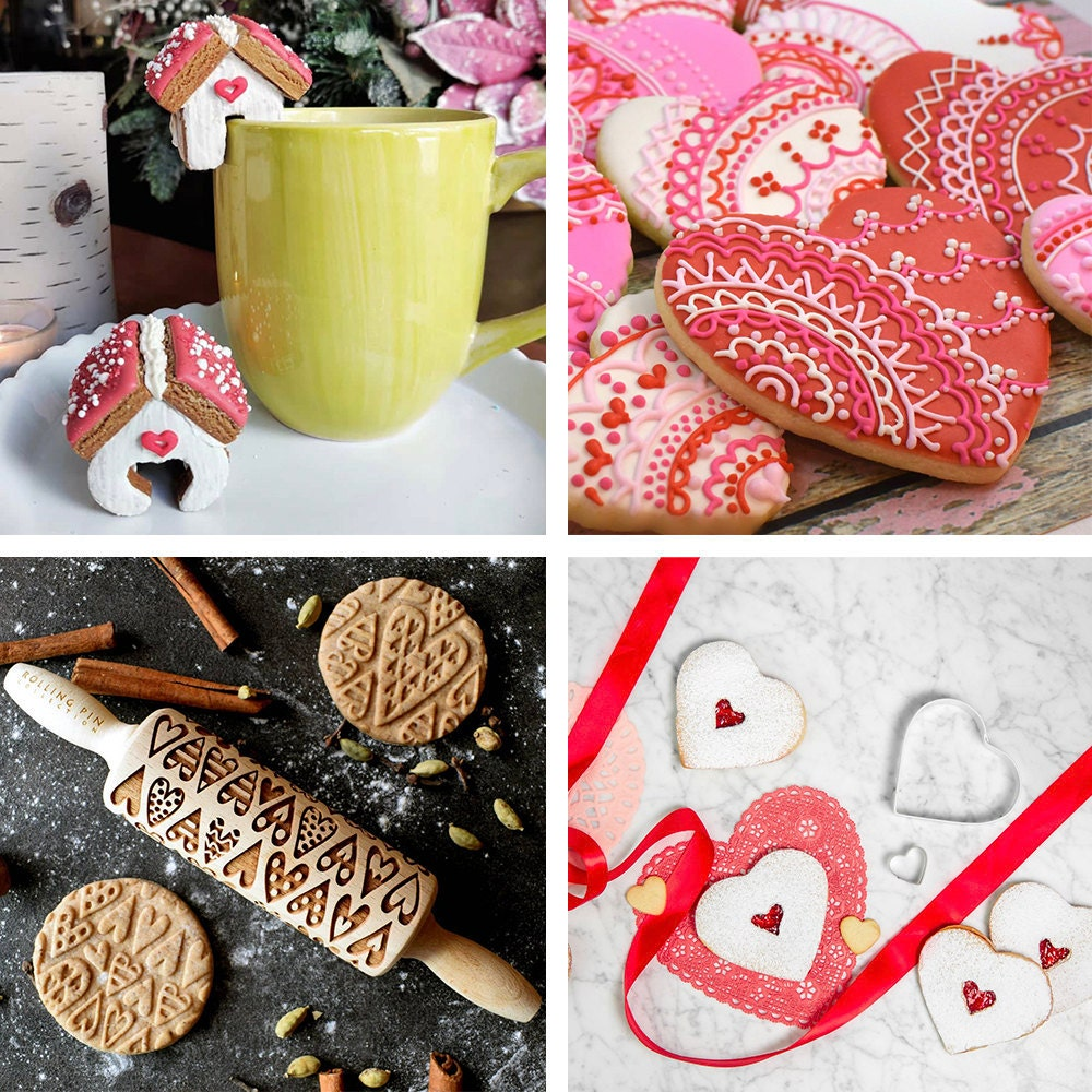 A collage of baking-themed Valentine's Day gifts available on Etsy.