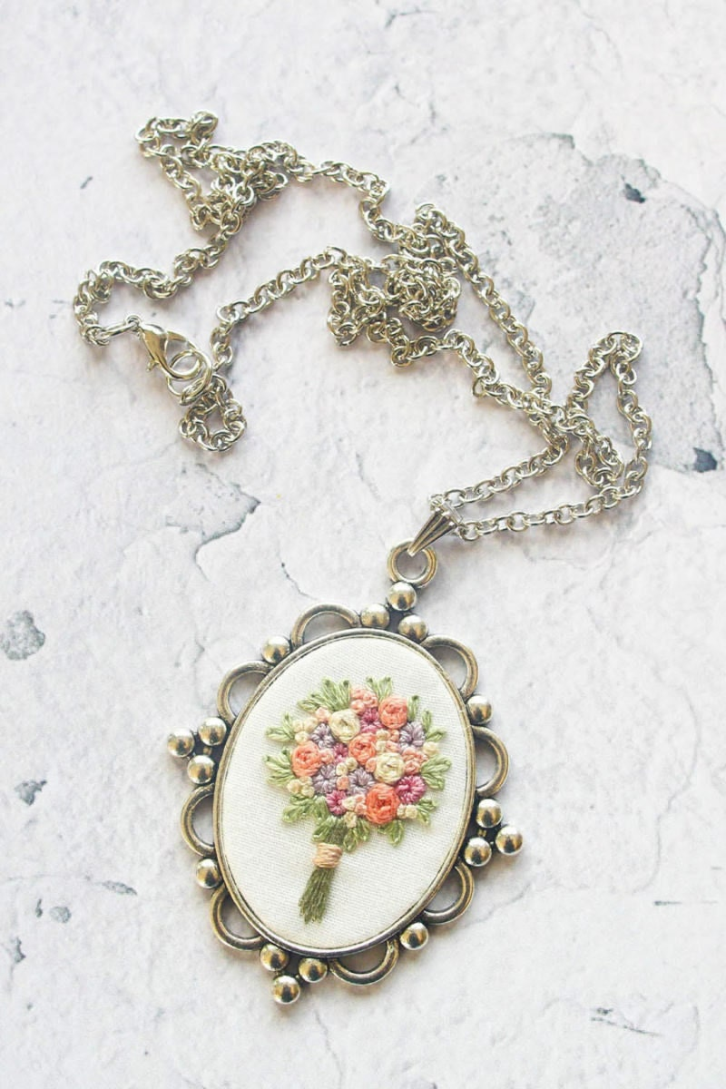 Ornate embroidered bouquet necklace from Thursday Craft Love