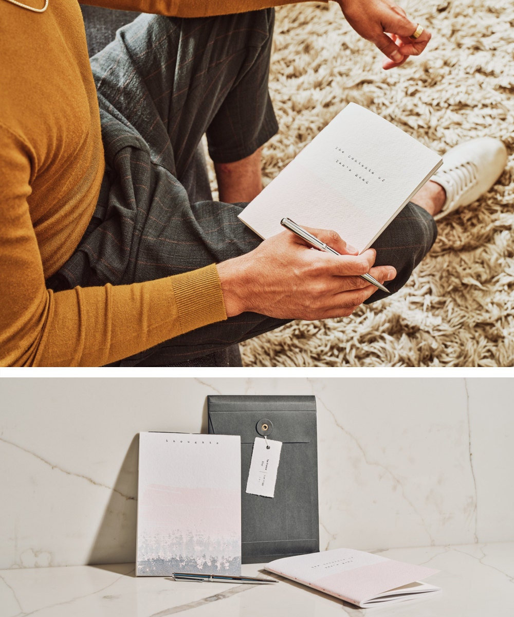 """An image of Tan opening a journal titled """"The Contents of Tan's Head,"""" collaged alongside a styled shot of the soft-covered journal set from the Tan France x Etsy collection"""