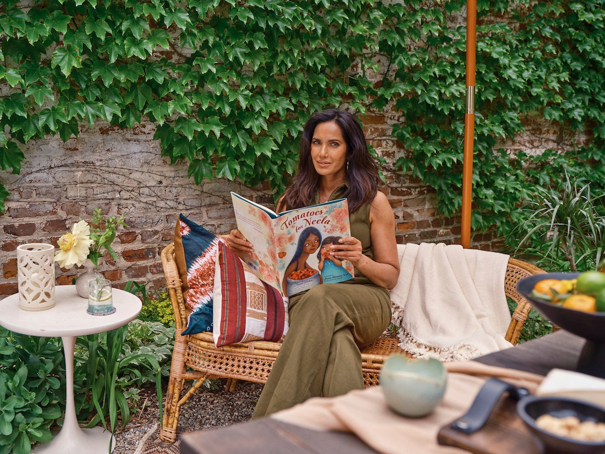 Padma Lakshmi with the children's book she authored