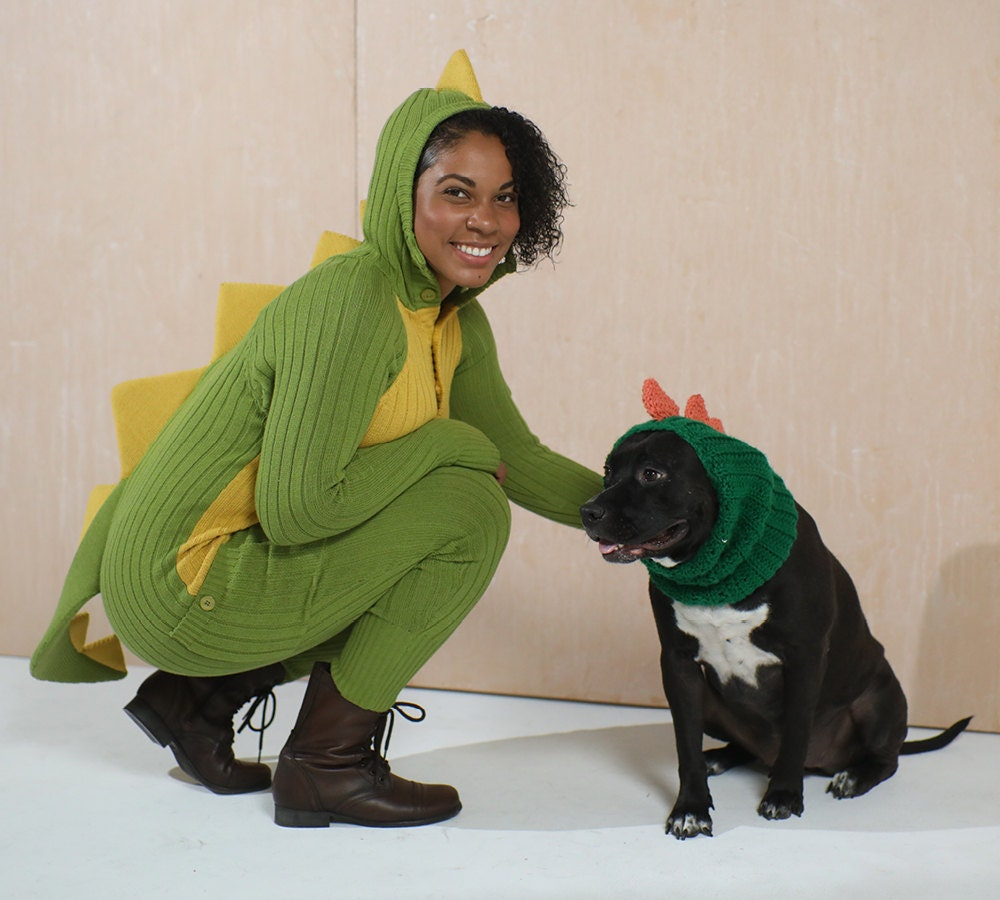 A woman and her dog, both dressed up as dinosaurs.