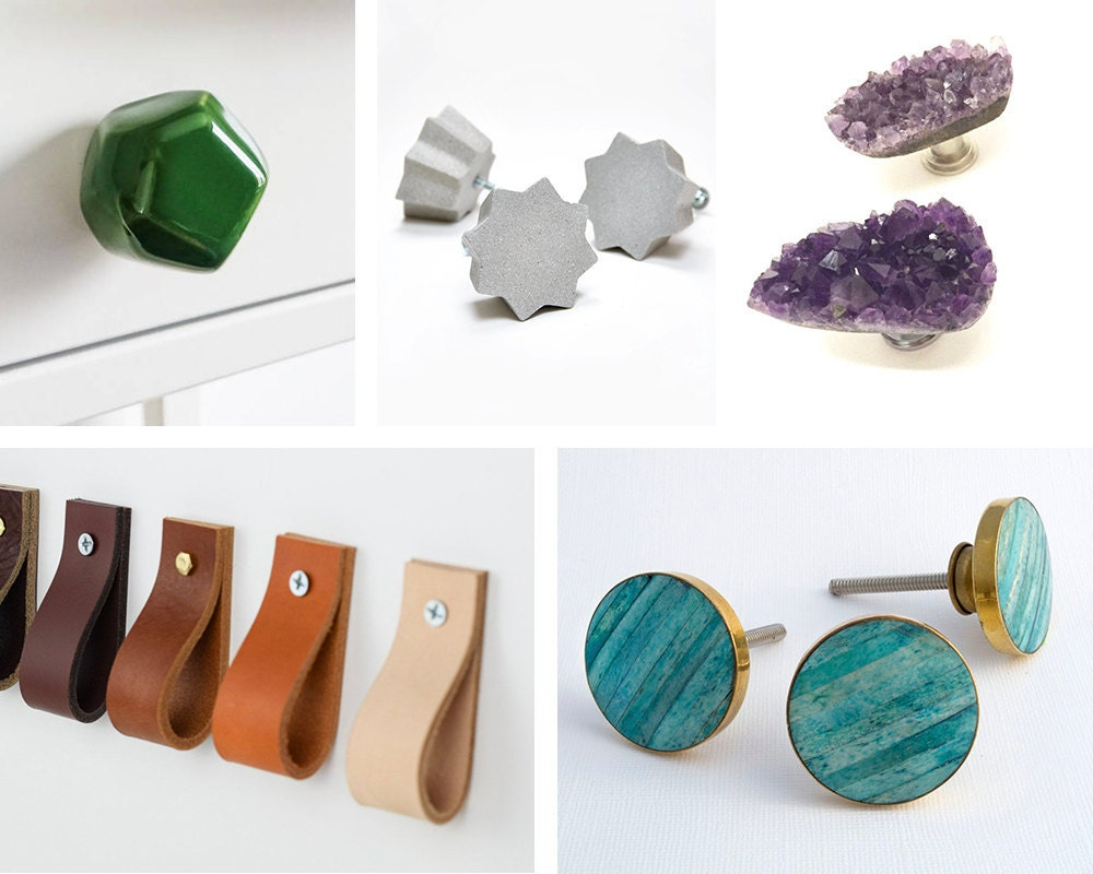 A collage of green ceramic, gray concrete, raw amethyst, leather, and turquoise drawer pulls
