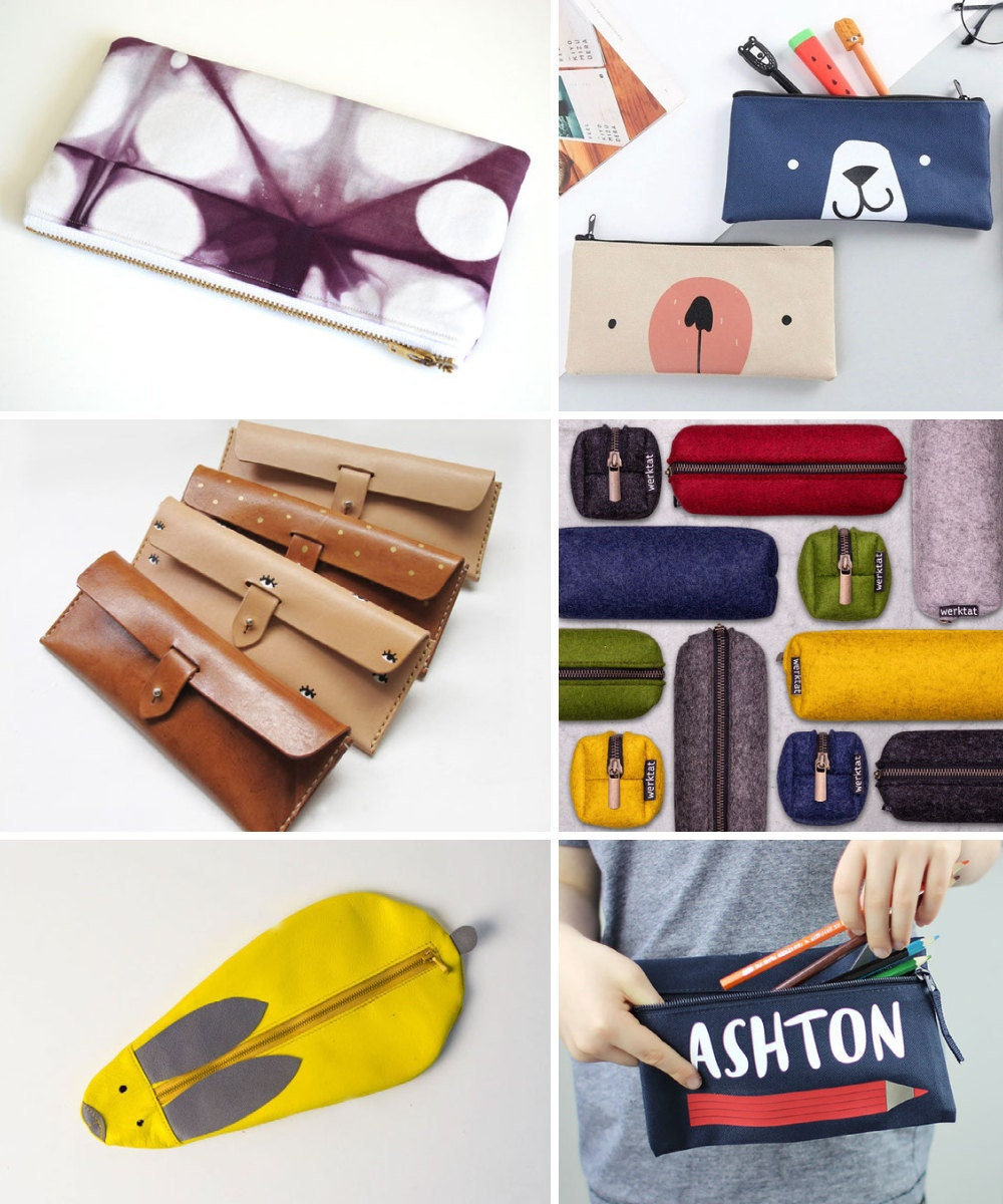 Pencil cases and other back-to-school supplies from Etsy